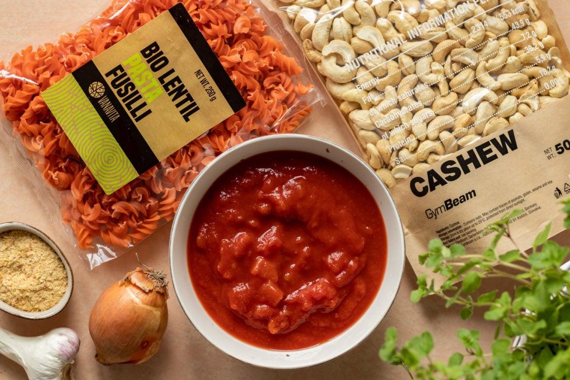 Ingredients for lentil pasta