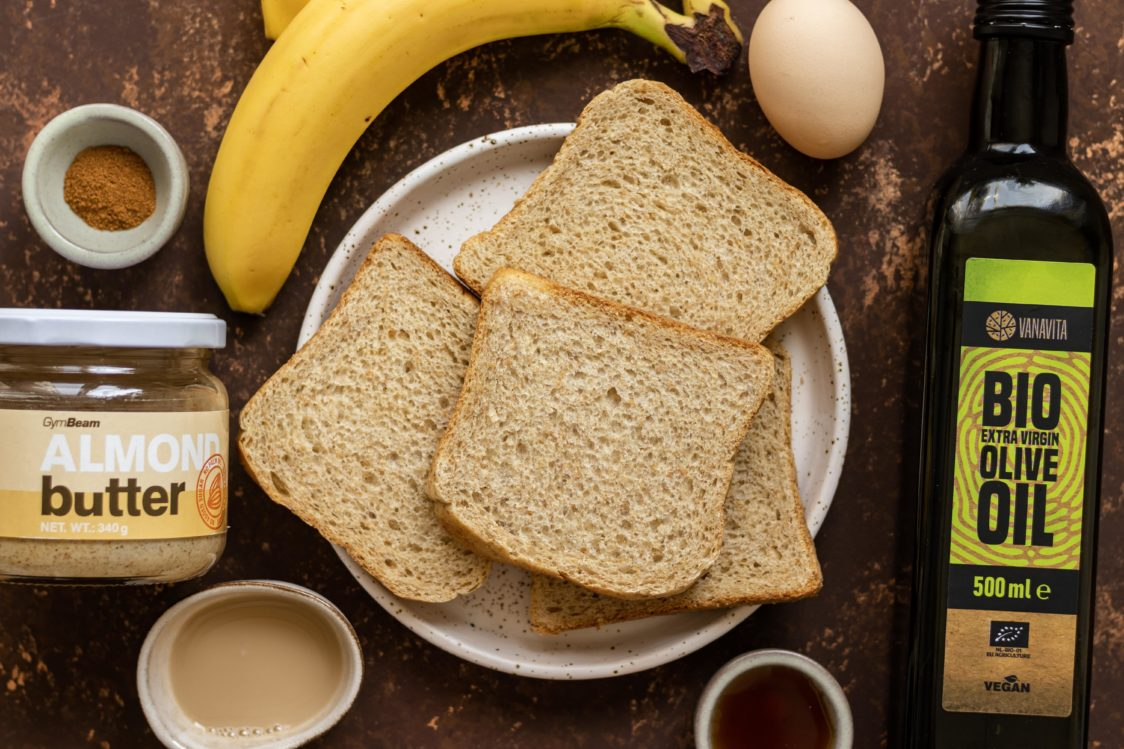 Ingredients for cinnamon French toast with banana