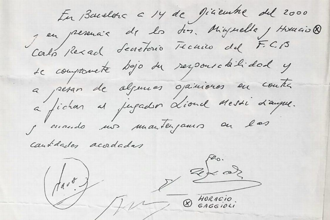 Primul contract al lui Messi pe un șervețel.