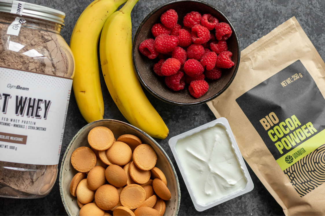 Ingredients for No-Bake Chocolate Cake of Ladyfingers, Fruit and Curd