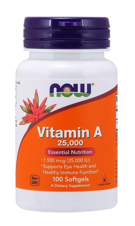 NOW Foods Vitamín A 25000 IU 100 kaps.