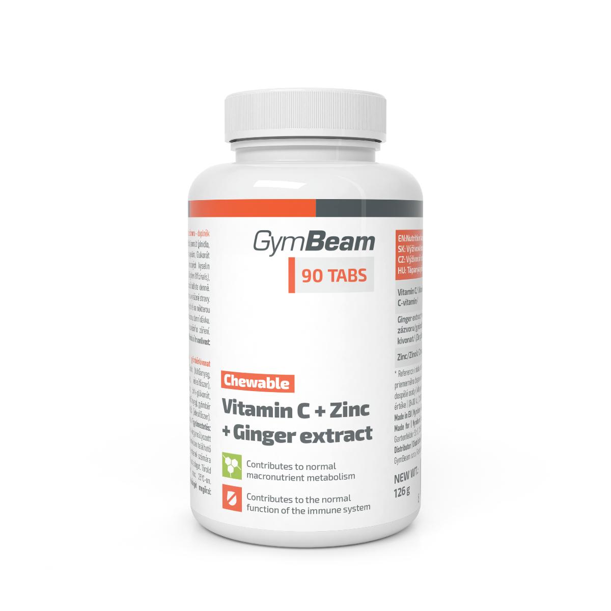 GymBeam Vitamín C + Zinok + extrakt zo zázvoru na cmúľanie 90 tab.