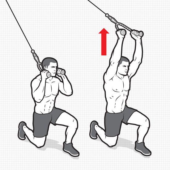 6 efektívnych cvikov k dosiahnutiu six-packu Half- kneeling vertical pallof press