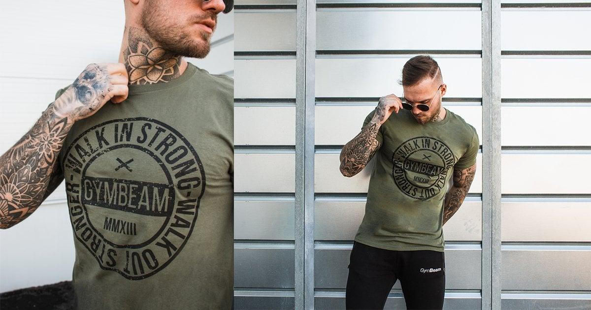 Tričko Walk In Strong Military Green - GymBeam
