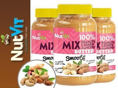 NUT Butter Mix je zmes arašidového, kešu a mandľového masla