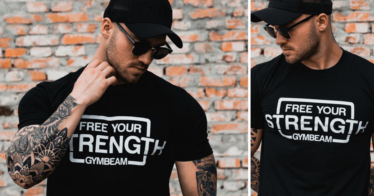 Tričko Free Your Strength Black White - GymBeam