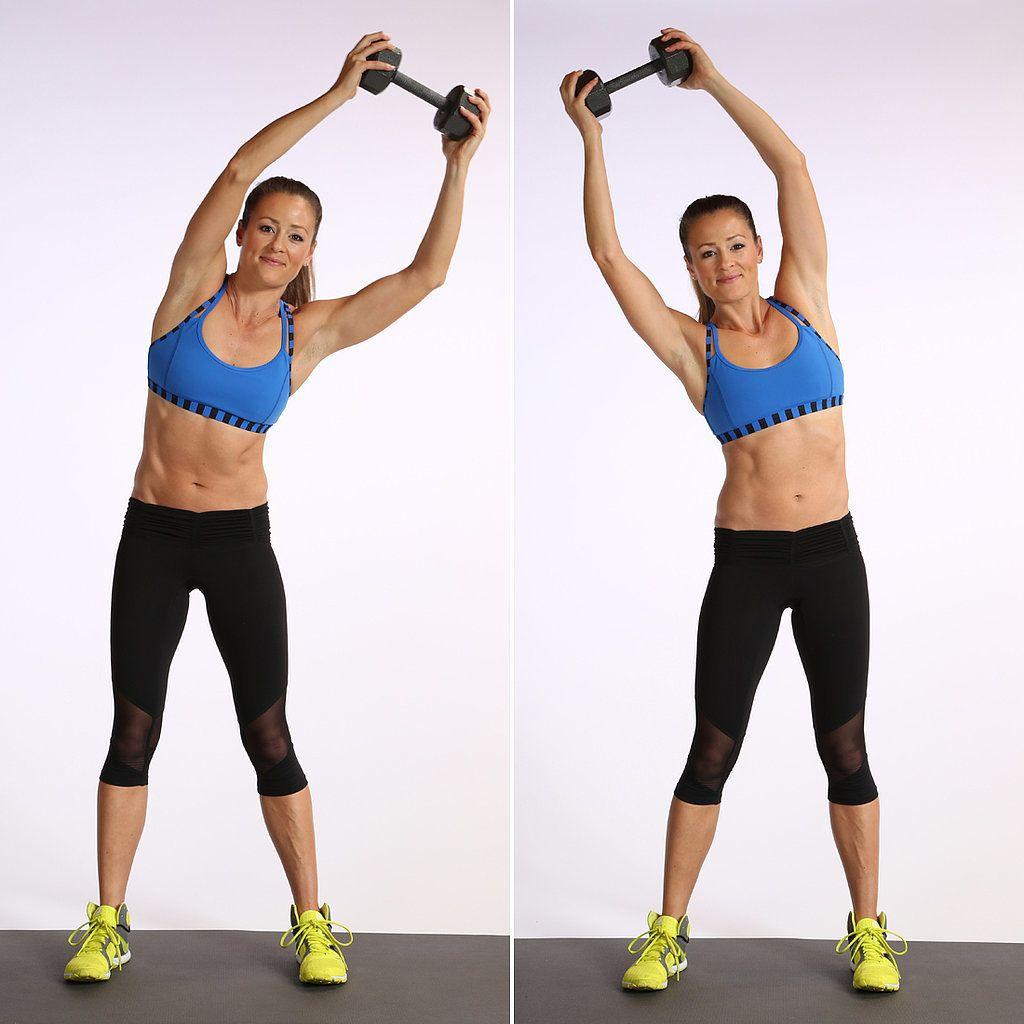 cviky na ploché brucho: Krúženie trupu vo vystretej polohe so závažím nad hlavou