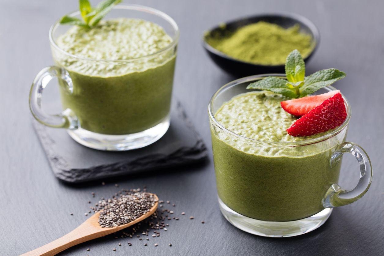 zelený chia puding špenát recept