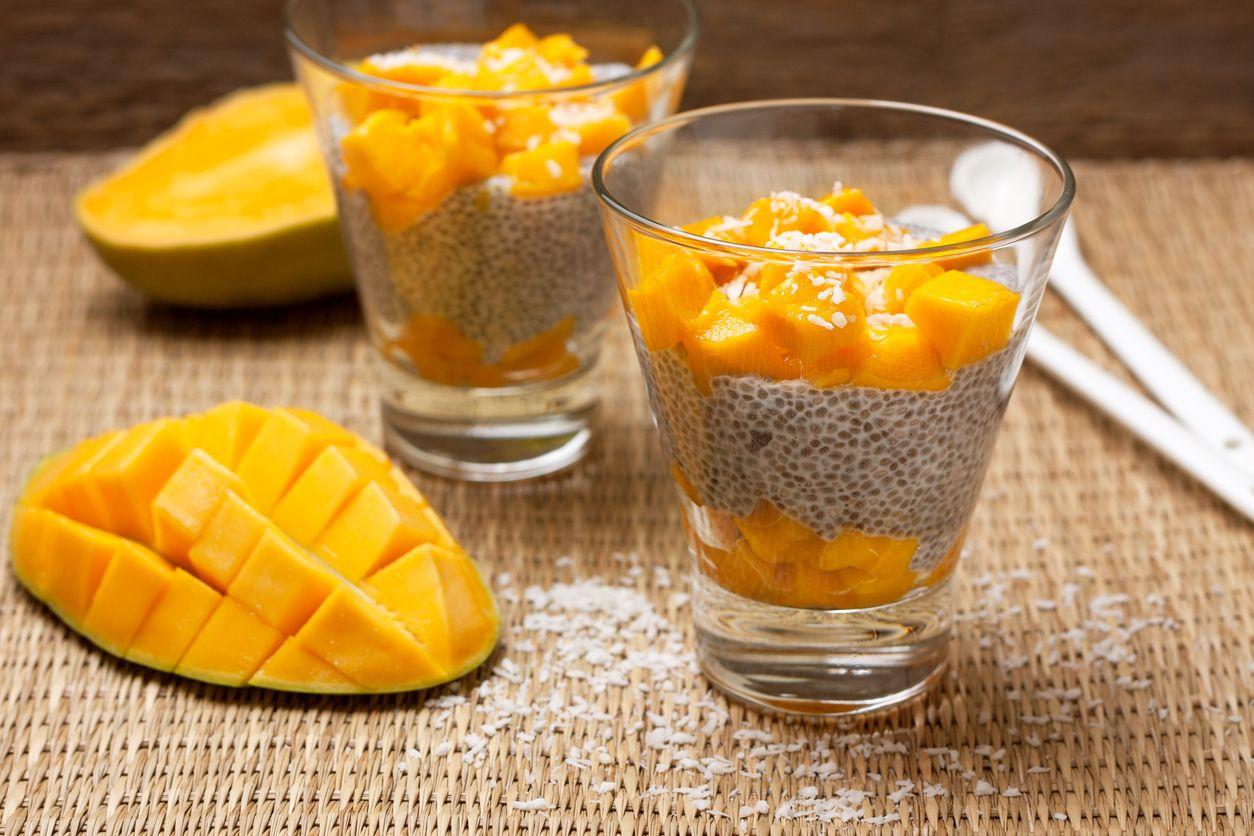 mangovo-kokosový chia puding recept