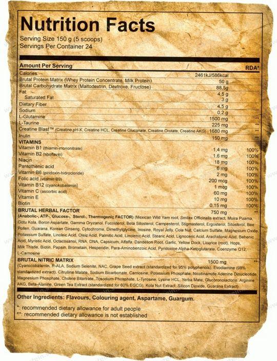 tabulka nutricnych hodnot gainer