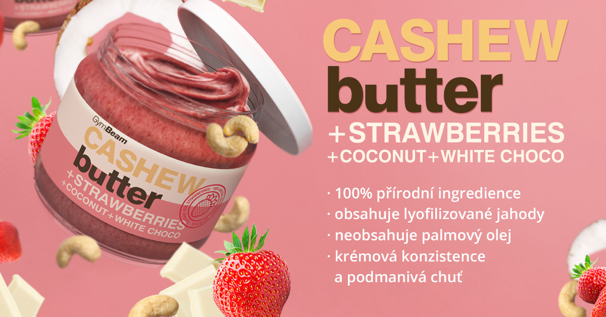 Vzorek Kešu máslo s kokosem, bílou čokoládou a jahodami - GymBeam