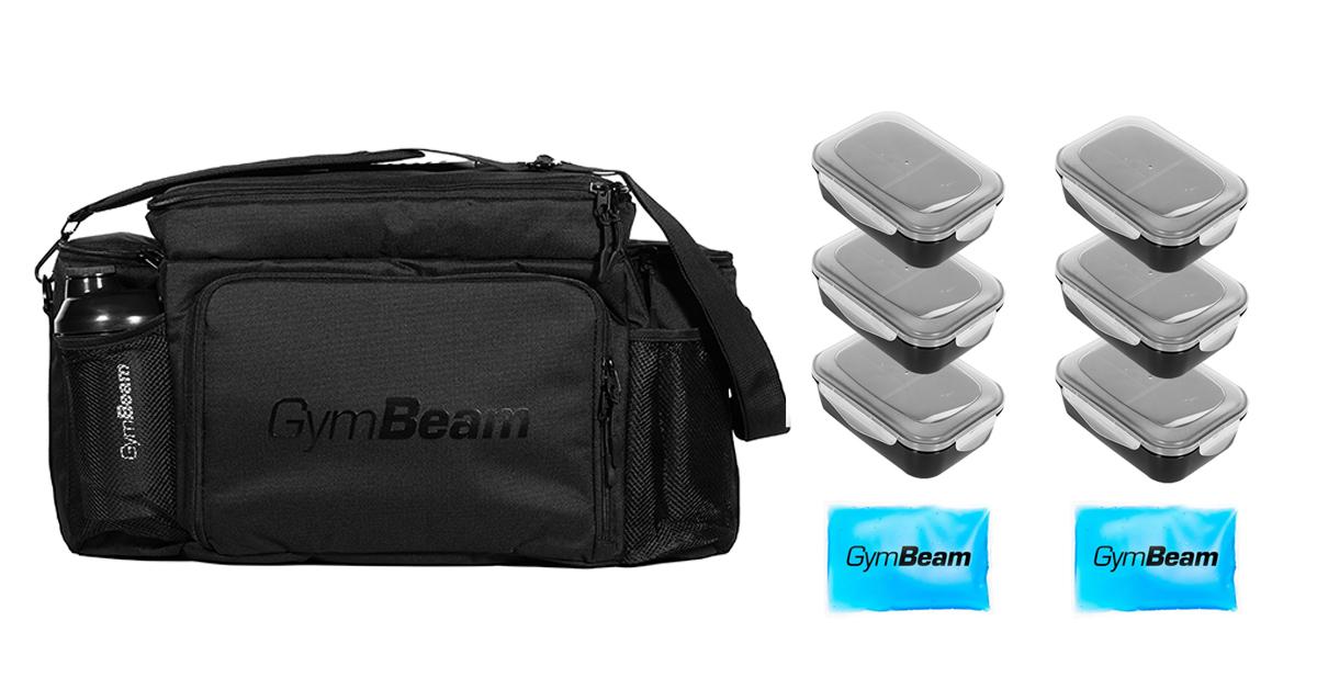 Taška na jedlo Fit Prep Black + 6 krabiček - GymBeam