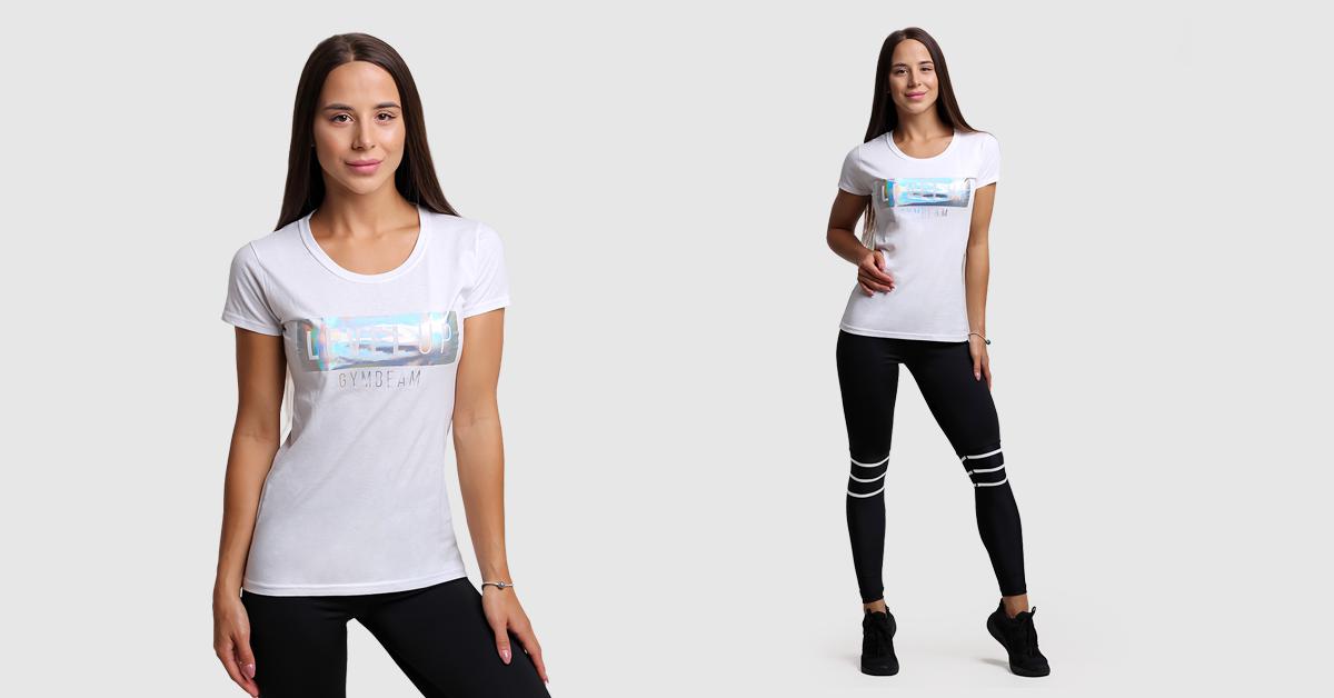 Dámske tričko Level Up White - GymBeam